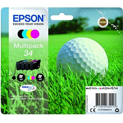 Epson original - Epson Workforce Pro WF-3720 DW (34 / C13T34664020) - Tintenpatrone Multipack (schwarz, Cyan, Magenta, gelb)
