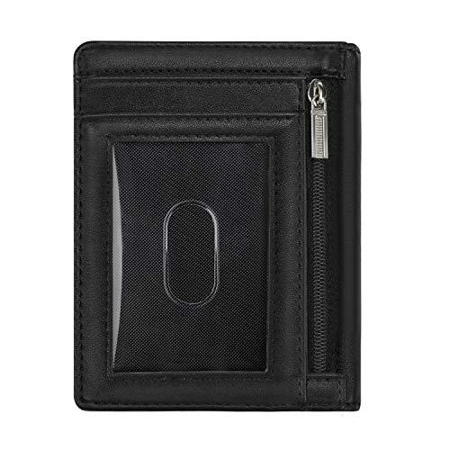 Vemingo Portafoglio Uomo Vera Pelle Porta carte di credito/portafoglio uomo in pelle con serratura RFID per varie carte personali, minimalista (nero)