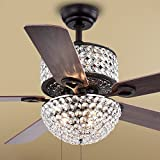 Warehouse of Tiffany CFL-8170BL Laure Crystal 6-light 52' Ceiling Fan