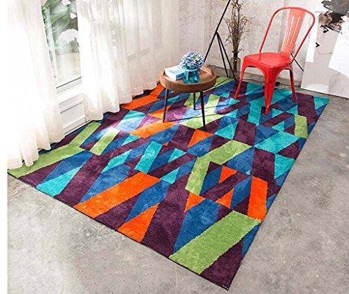 Teppichen Creative Light- Modern Fashion Trend Wohnzimmer Couchtisch Zimmer Teppichboden Schlafzimmer Nachtdecke Bunte Geometrie Blocks Langes Haar (größe : 1.2m*1.7m)
