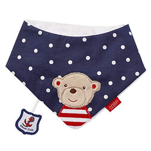 Fehn 078633 Halstuch Teddy / Kuschelweiches Baby-Dreieckstuch zum Wenden mit niedlichem Tiermotiv, angenehmer Tragekomfort mit Klettverschluss, für Babys von 0-12 Monaten