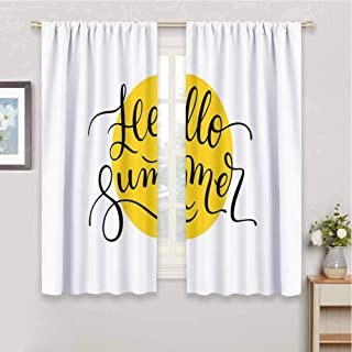 Hello Summer Heavyweight Blackout Polyester Curtains Abstract Retro Style Lettering in Black Font Across a Round Shape in Yellow Room Darkening Blackout Window Curtains W97 x L85 Inch Mustard Black
