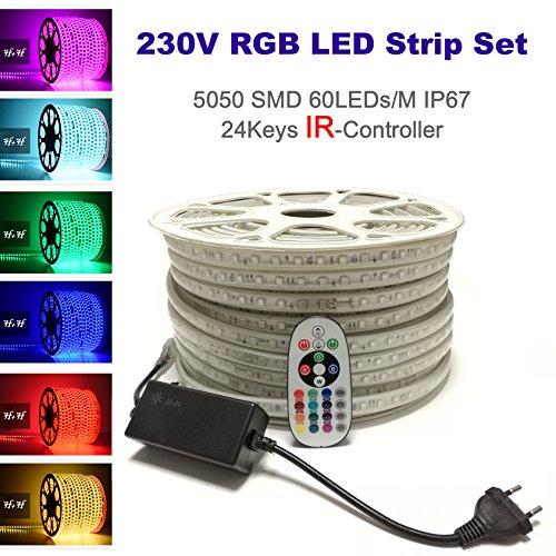 15 Meter H+H Leipzig 230V 5050 SMD 60LEDs /M IP67 Mehrfarbig RGB LED Strip Streifen Lichtband Lichtleiste Lichtschläuche Lichtschlauch mit Infrarot (IR) Netzteil Controller Fernbedienung