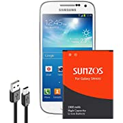 SUNZOS Akku für Samsung Galaxy S4 Mini GT-i9190 GT-i9195 GT-i9192 Entspricht dem original EB-B500BE Batterie Accu Battery