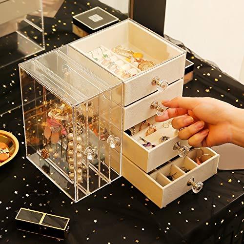 Miduo - Portagioie in acrilico per gioielli, orecchini, collane, orecchini, gioielli, orecchini e ploni trasparenti Z1666.