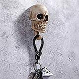 Arola Ganchos de pared con forma de cráneo para colgar llaves, decoración de pared, organizador de llaves, para el cuarto de baño, perchas para la casa y la cocina (2 unidades)