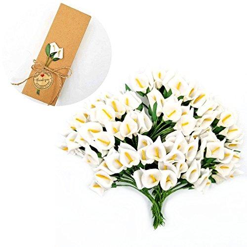 JZK® 144 x Weiß kleine Calla künstliche Blumen Mini Schaum Kunstblumen für Handwerk Favour Box Geschenkbox Karte Zubehör, Dekoration für Hochzeit Geburtstag Party Festival (Weiß Calla)