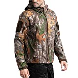 FREE SOLDIER Men's Outdoor Waterproof Soft Shell Hooded Military Tactical Jacket (4X-Large, Camo)