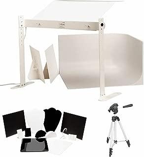MyStudio MS20J Tabletop Photo Studio Lightbox with 5000K Lighting, 12pc Jewelry Photography Tool Kit, Bonus Tripod