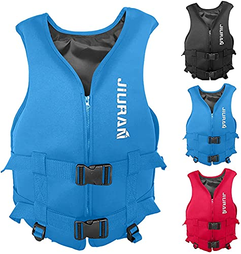 KCTM Chaleco salvavidas, chaleco salvavidas para niños y adultos, chaleco salvavidas flotante de neopreno de verano, chaleco salvavidas para natación al aire libre, rafting y kayak (azul, grande)