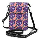 Jiger Women Small Cell Phone Purse Crossbody,Violet Roman Artichokes On Coral Backdrop Organic Cooking Theme Grocery
