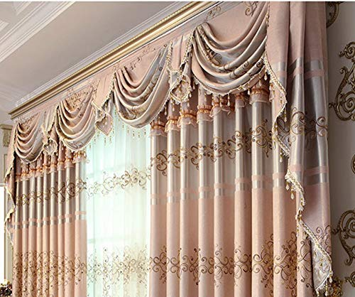 Gxi European Waterfall Curtain Valance Swag Blackout Drape Beaded Luxury Curtain Drapes Rod Pocket Top Window Treatments Tier for Living Room 1 Panel W59 Inch