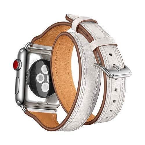 KTZAJO 2021 La última correa de cuero para correa de reloj compatible con correa de reloj de 42 mm, 38 mm, 4 mm, 40 mm, Iwatch 4, 3 2 1, doble correa de muñeca (color: blanco, tamaño: 42 mm-44 mm)