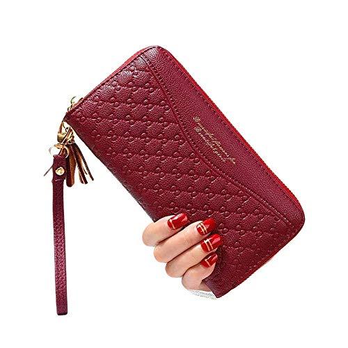 Monedero largo para mujer con hoja hueca, piel sintética, elegante portatarjetas de crédito, pasaporte, funda de cartera con cierre con cremallera, rojo brillante, extra-large, Moderno