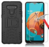 Yiakeng Compatible for LG K51 Case with Screen Protector, Shockproof Silicone Protective with Kickstand Hard Phone Cover for LG K51 (Black)