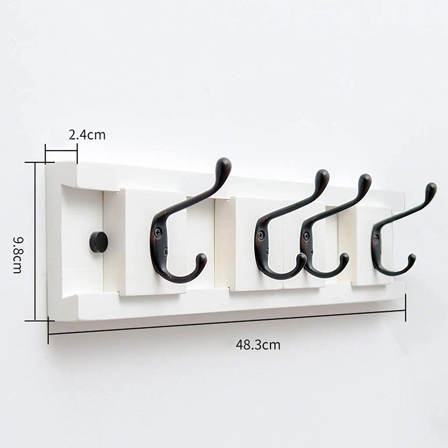 3-6 Wall Hook Bamboo Movable Clothes Hanger Wall Bracket Living Hooks (color   white, Size   6 Hooks)