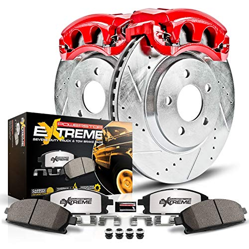 Power Stop KC1905-36 Z36 Truck & Tow Front Caliper Kit-Drilled/Slotted Brake Rotors, Carbon-Fiber Ceramic Brake Pads, Calipers