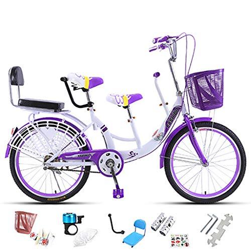ZXLLO 24 Zoll Doppeltes Vintage-Damenfahrrad Familien-Fahrrad 5 Farben auswählen Für die Familie,Lila