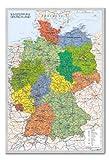 Deutschland Karte Pinnwand–Kork Board mit Pins gerahmt in Silber Holz inkl. Stecknadeln,...
