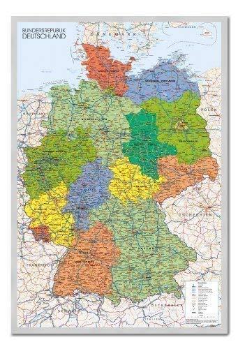 Deutschland Karte Pinnwand–Kork Board mit Pins gerahmt in Silber Holz inkl. Stecknadeln, 96,5x 66cm (ca. 96,5x 66cm)