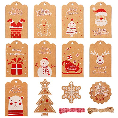 DIYASY Christmas Kraft Paper Gift Tags,120 Pcs Hang Labels with 200 Feet Cotton and Jute Strings 10 Designs Holiday Tags for DIY Xmas Present Wrapping
