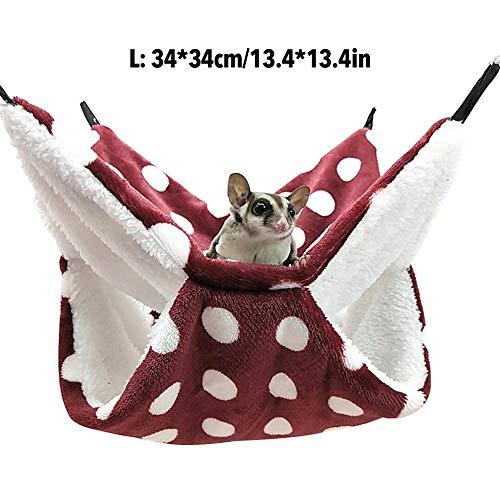 Honeycomb Hangmat voor knaagdieren, knaagdieren hangmat, hangmat kleine dieren holle huishuisje ratte chilla frettchen hamster voor ratten, hamsters, chillas en eekhoorns, Rood 34 x 34 cm.