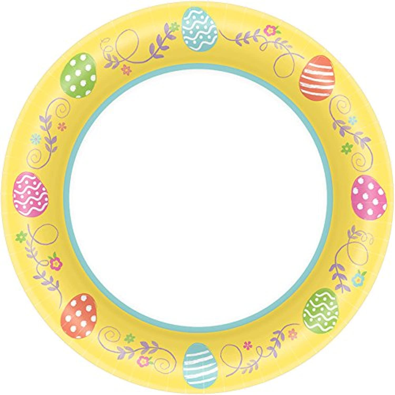 Amscan 551921 EggCellent Easter Round Plates Party Supplies, 6 3 4 , Yellow