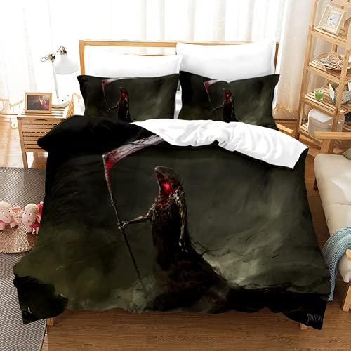 Dokuroizo - Juego de funda de edredón para cama individual, con 2 fundas de almohada, microfibra suave hipoalergénica, con cierre de cremallera, fácil cuidado
