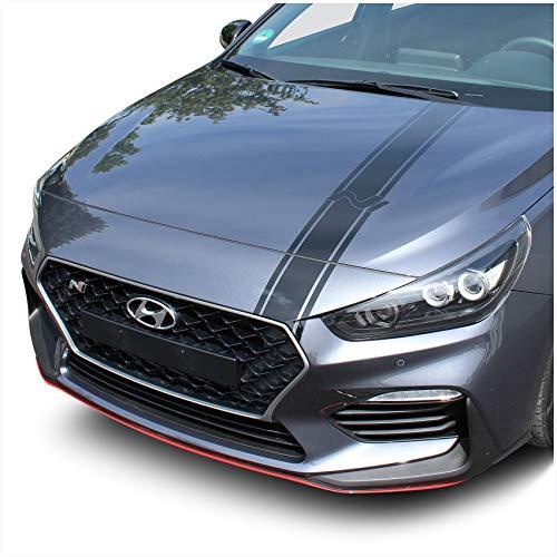 Finest Folia Folie für die Motorhaube Dekor für Haube Selbstklebend Carwrapping Auto Kfz Zubehör Design Aufkleber Passgenau D020 (3M 2080 Schwarz Glanz)
