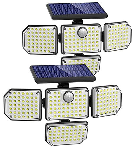 Solar Motion Lights Outdoor, 3000LM 4 Head Solar Lights Outdoor, Super Bright 3 Modes Solar Flood Lights Outdoor, IP67 Waterproof Security Lights Motion Outdoor for Patio Garage Door Driveway, 2 Pack