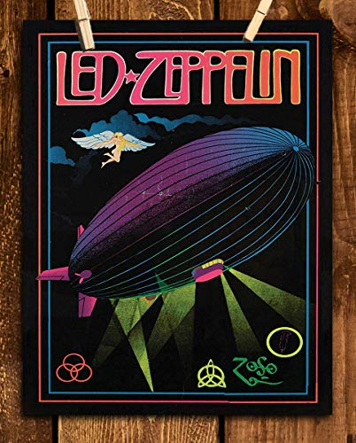 "Led Zeppelin Band Poster Print- 8 x 10 Wall Print- Ready To Frame. Iconic Rock Band Logo Print Featuring""The Zeppelin Airship"". Home-Studio-Bar-Dorm-Man Cave Decor. Perfect Gift For Zeppelin Fans."