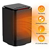 AUZKIN Space Heater Portable Heater Personal Heater Fan Electric Small Ceramic Heater for Office Bedroom Desk Home in Door Use,with Overheat Protection,Black