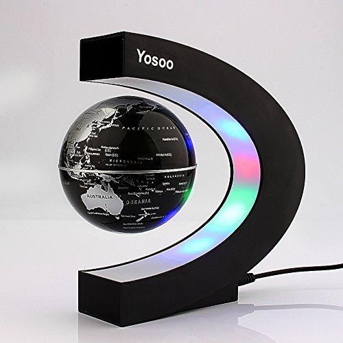Yosoo Globo Fluttuante Levitazione C Forma Elettronico Mappamondo Magnetico Luce LED Decorazione della Casa Ufficio Regali d'Affari Studente Educazione Lampadina per Casa Ufficio Decorazione