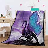 Felu Flannel Fleece Blanket Luxury 3D Purple Dragon Printed Soft Cozy Lightweight Durable Plush Throw Blanket for Bedroom Living Rooms Sofa Couch