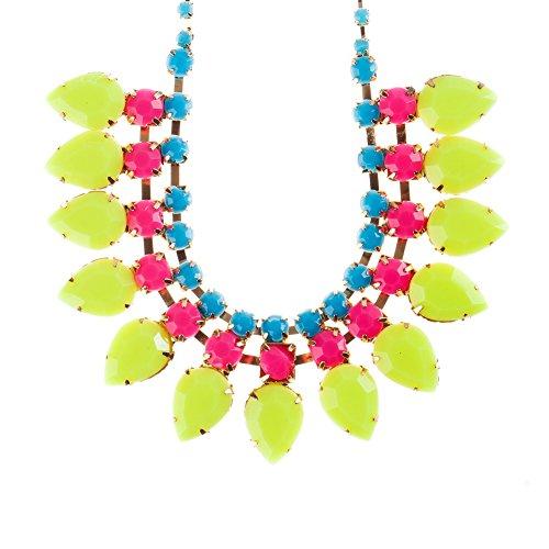 VAGA - Collar con colgante de cadena dorada, piedras azules y rosas y amarillas de plástico en forma de lágrima y perlas de color amarillo de VAGA