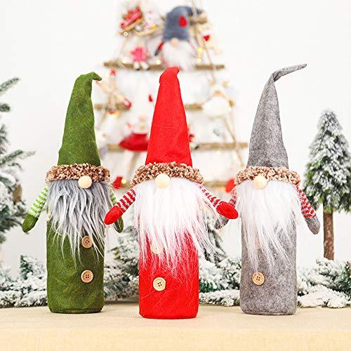 Dizie - Lote de 3 bolsas para botella de vino, champn, disfraz de Pap Noel, manta para botella de vino o Navidad