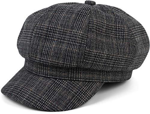 styleBREAKER Damen Bakerboy Schirmmütze mit Glencheck Karo Muster, Ballonmütze, Newsboy Cap 04023068, Farbe:Schwarz-Blau