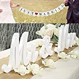 Viopvery Wedding Decorations Set, Mr and Mrs Sign & Just Married Banner Perfect for Wedding Sweetheart Table,Photo Props. Large Wooden Letters Mr and Mrs Signs,White