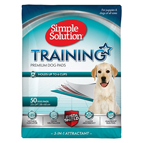 Simple Solution Training Puppy Pads | 6 Layer Dog Pee Pads, Absorbs Up to 6 Cups of Liquid | 23x24 Inches, 50 Count