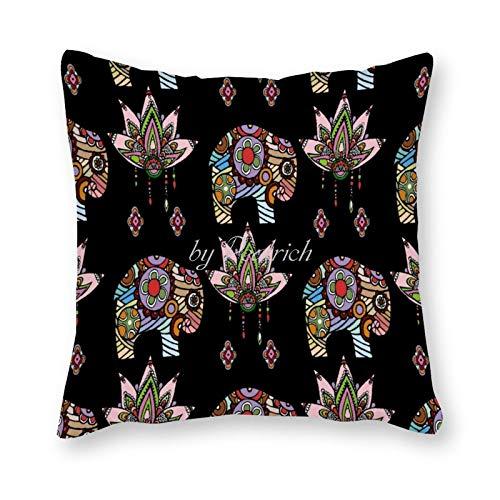 Viowr22iso Funda de almohada colorida con diseño de elefantes tribales y animales étnicos, decoración del hogar, 45,7 x 45,7 cm
