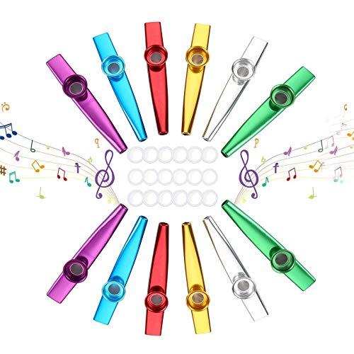 Herefun Kazoo, 12 Stück Metall Kazoo Musik Instrument für Ukulele, Gitarre, Violine, Klaviertastatur mit 18 Flöten-Membranen für Kinder Musikliebhaber -6 Farben