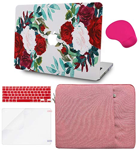 LuvCase 5in1 LaptopCase for Old MacBook Pro 13' (CD Drive, 2008-2012) A1278 HardShellCover, Sleeve, Mouse Pad, Keyboard Cover and Screen Protector(Flower 25)