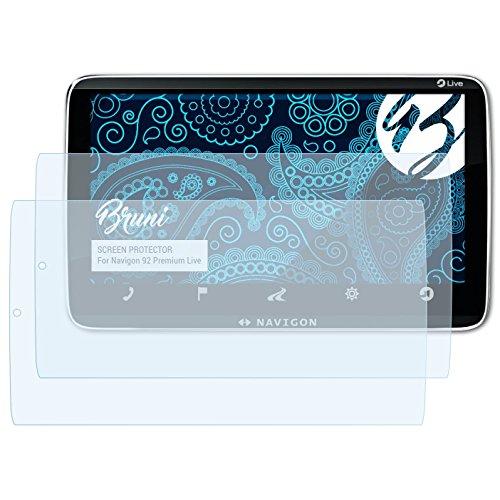 Bruni Schutzfolie kompatibel mit Navigon 92 Premium Live Folie, glasklare Displayschutzfolie (2X)