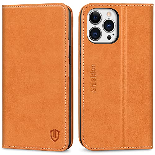 SHIELDON Case for iPhone 13 Pro 5G, Genuine Leather iPhone 13 Pro Wallet Case Magnetic RFID Blocking Credit Card Holder Kickstand Shockproof...