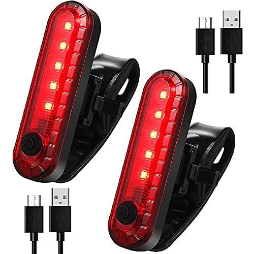 OVBBESS 2 piezas USB recargable LED luz trasera de bicicleta brillante 4 modos luz trasera impermeable bicicleta trasera luz roja