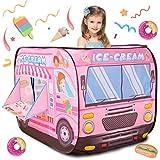 Buyger Helado Tienda de Campaña Infantil Pop Up Carpa Plegable Casita de Juegos Supermercado Carrito de Helados Navidad Regalo para Niños Niñas 3 4 5 Años