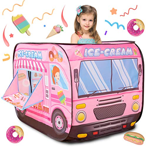 Buyger Pop Up Play Ice Cream Tent Toys for 3 4 5 Year Old Girls Boys Gifts Playhouse Toy for Kid Outdoor Indoor, Role Play Shop Toy