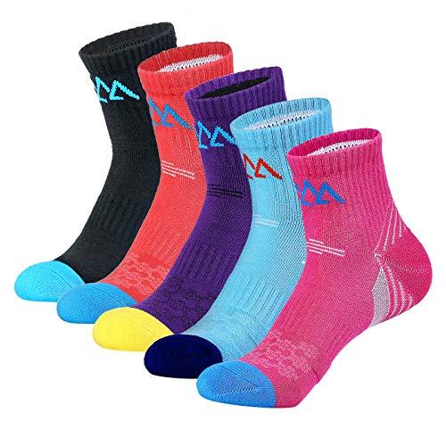 innotree 5 Pack Women's Cushioned Hiking Walking Running Socks, Moisture Wicking Blister Resist Multi Performance Padded Quarter Crew Ankle Athletic Socks Outdoor Trekking