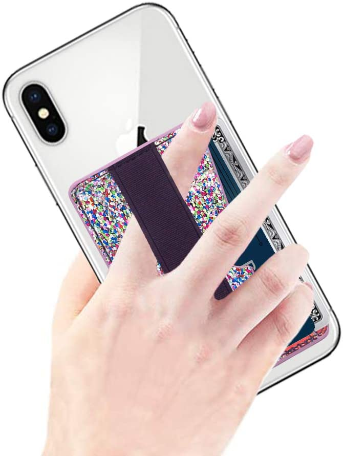 Card Holder for Back of Phone RFID Blocking, CASZONE Phone Grip Card Pockets with Hand Strap Sequins Sparkly 3M Adhesive Stick-on Slim Credit Card ID Card Slot Sleeves for Most Smartphones, Multicolor