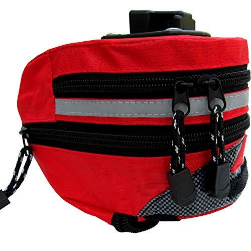 MTR Sports - Fahrradtasche Satteltasche - Rot - Wasserdicht - mit Befestigung am Rahmen und Sattel vom Fahrrad